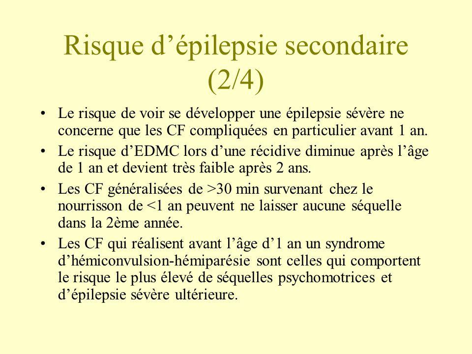 Risque d'épilepsie secondaire (2/4) •Le risque de voir se développer une épilepsie sévère ne concerne que les CF compliquées en particulier avant 1 an.