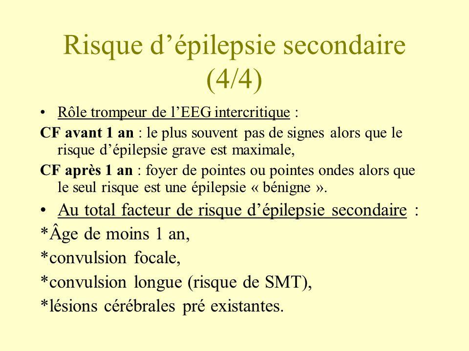 Risque d'épilepsie secondaire (4/4) •Rôle trompeur de l'EEG intercritique : CF avant 1 an : le plus souvent pas de signes alors que le risque d'épilep