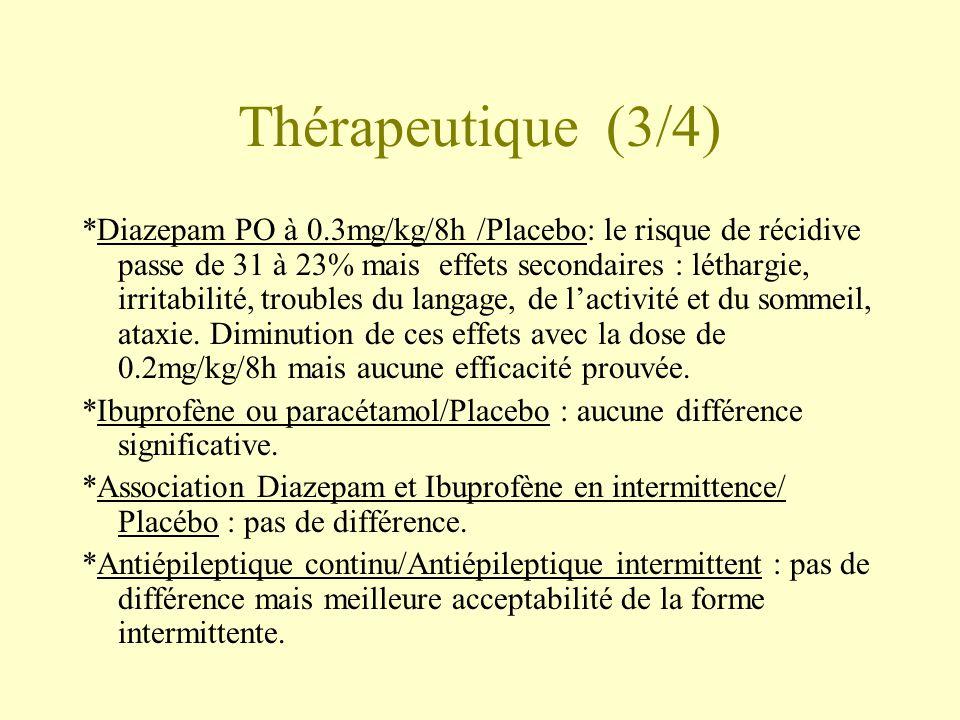 Thérapeutique (3/4) *Diazepam PO à 0.3mg/kg/8h /Placebo: le risque de récidive passe de 31 à 23% mais effets secondaires : léthargie, irritabilité, troubles du langage, de l'activité et du sommeil, ataxie.