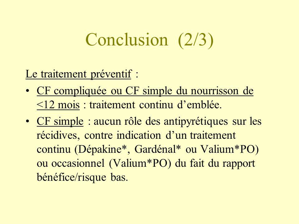Conclusion (2/3) Le traitement préventif : •CF compliquée ou CF simple du nourrisson de <12 mois : traitement continu d'emblée.