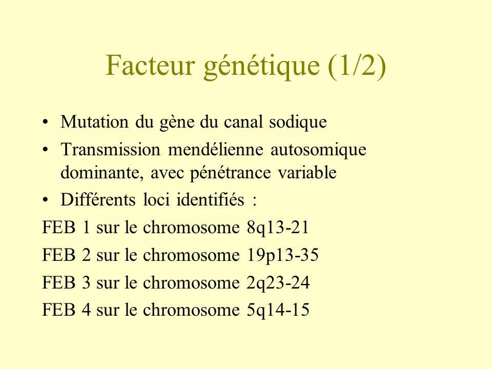 Facteur génétique (1/2) •Mutation du gène du canal sodique •Transmission mendélienne autosomique dominante, avec pénétrance variable •Différents loci identifiés : FEB 1 sur le chromosome 8q13-21 FEB 2 sur le chromosome 19p13-35 FEB 3 sur le chromosome 2q23-24 FEB 4 sur le chromosome 5q14-15