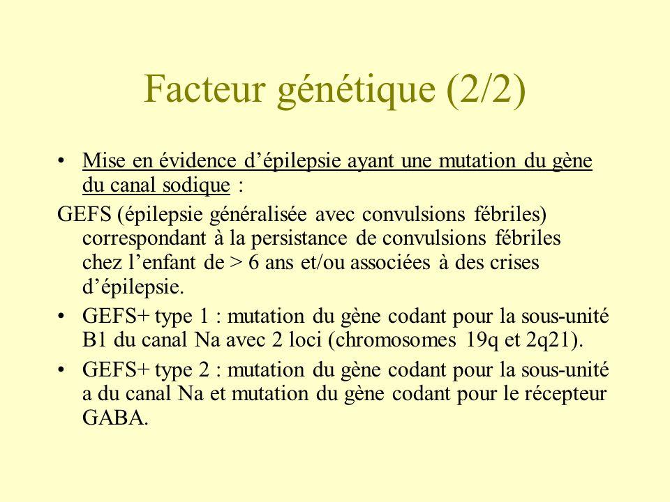 Facteur génétique (2/2) •Mise en évidence d'épilepsie ayant une mutation du gène du canal sodique : GEFS (épilepsie généralisée avec convulsions fébriles) correspondant à la persistance de convulsions fébriles chez l'enfant de > 6 ans et/ou associées à des crises d'épilepsie.
