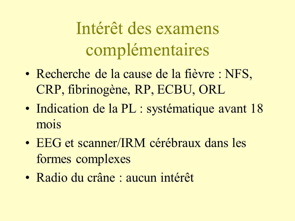 Intérêt des examens complémentaires •Recherche de la cause de la fièvre : NFS, CRP, fibrinogène, RP, ECBU, ORL •Indication de la PL : systématique avant 18 mois •EEG et scanner/IRM cérébraux dans les formes complexes •Radio du crâne : aucun intérêt