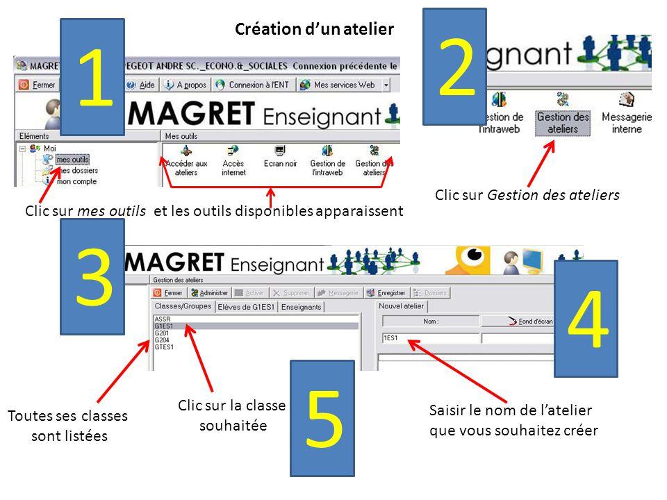 Création d'un atelier Clic sur mes outils et les outils disponibles apparaissent 1 2 Clic sur Gestion des ateliers 3 Toutes ses classes sont listées Saisir le nom de l'atelier que vous souhaitez créer 4 Clic sur la classe souhaitée 5