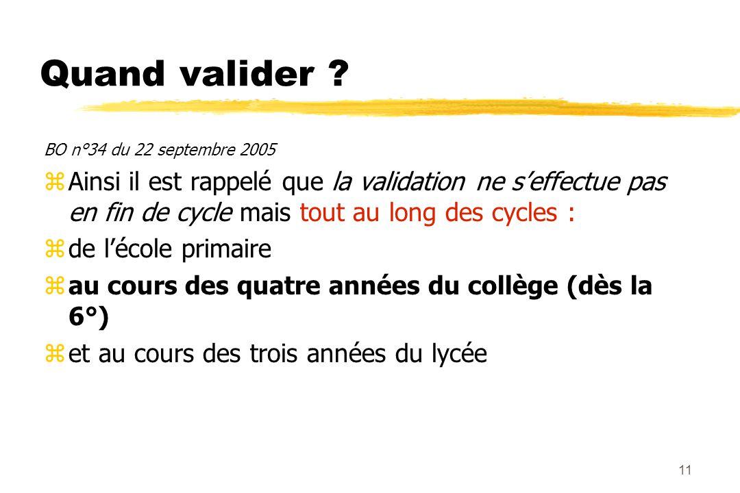 10 Conditions de validation? zAu collège, au lycée et dans les CFA, au moins deux disciplines différentes doivent intervenir pour pouvoir valider l'at