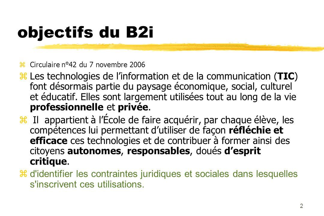 1 L 'esprit du B2i Brevet Informatique Internet