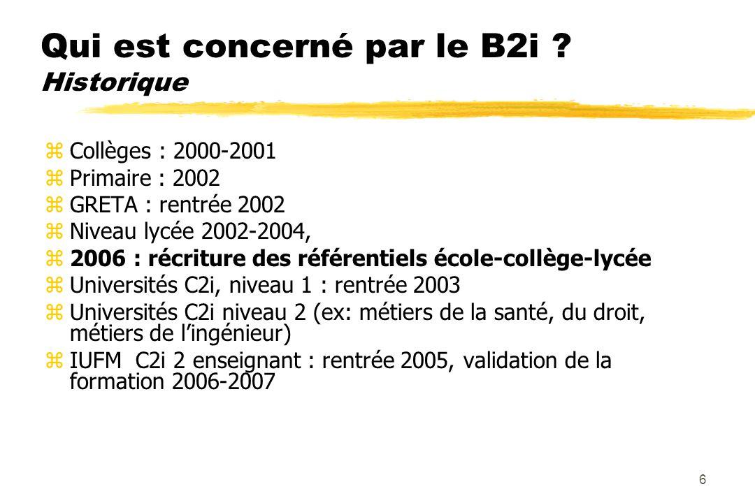 5 Les compétences visées par le B2i : 5 domaines : z1 : s'approprier un environnement informatique de travail z2 : adopter une attitude responsable z3