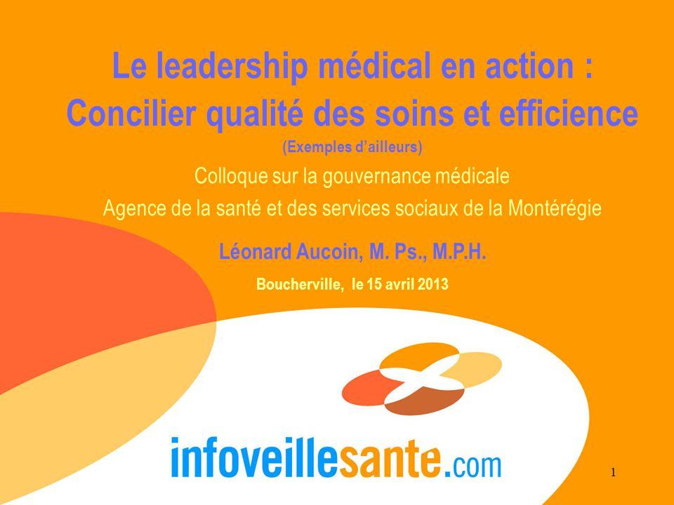 Le leadership médical en action : Concilier qualité des soins et efficience (Exemples d'ailleurs) Colloque sur la gouvernance médicale Agence de la santé et des services sociaux de la Montérégie Léonard Aucoin, M.