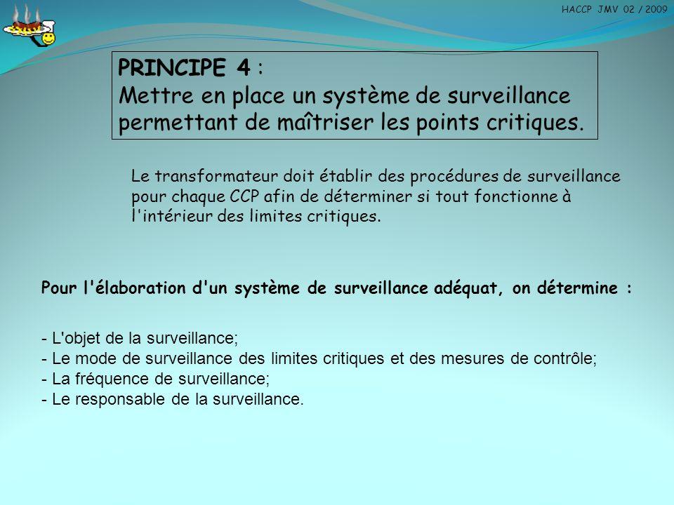 PRINCIPE 4 : Mettre en place un système de surveillance permettant de maîtriser les points critiques. Le transformateur doit établir des procédures de