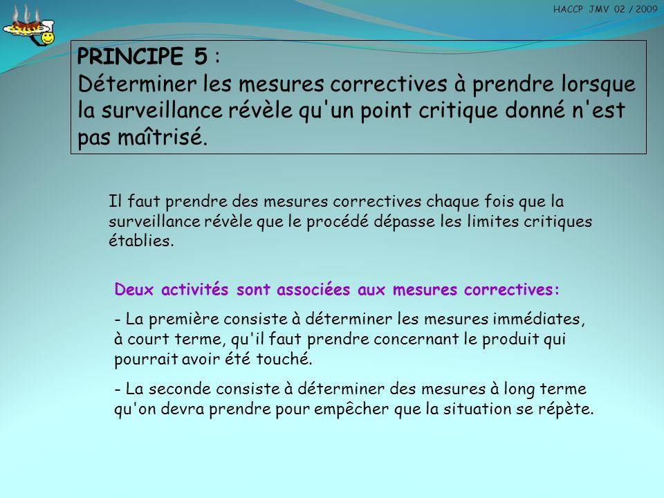 PRINCIPE 5 : Déterminer les mesures correctives à prendre lorsque la surveillance révèle qu'un point critique donné n'est pas maîtrisé. Il faut prendr