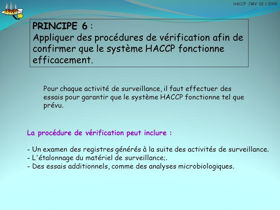 PRINCIPE 6 : Appliquer des procédures de vérification afin de confirmer que le système HACCP fonctionne efficacement. Pour chaque activité de surveill