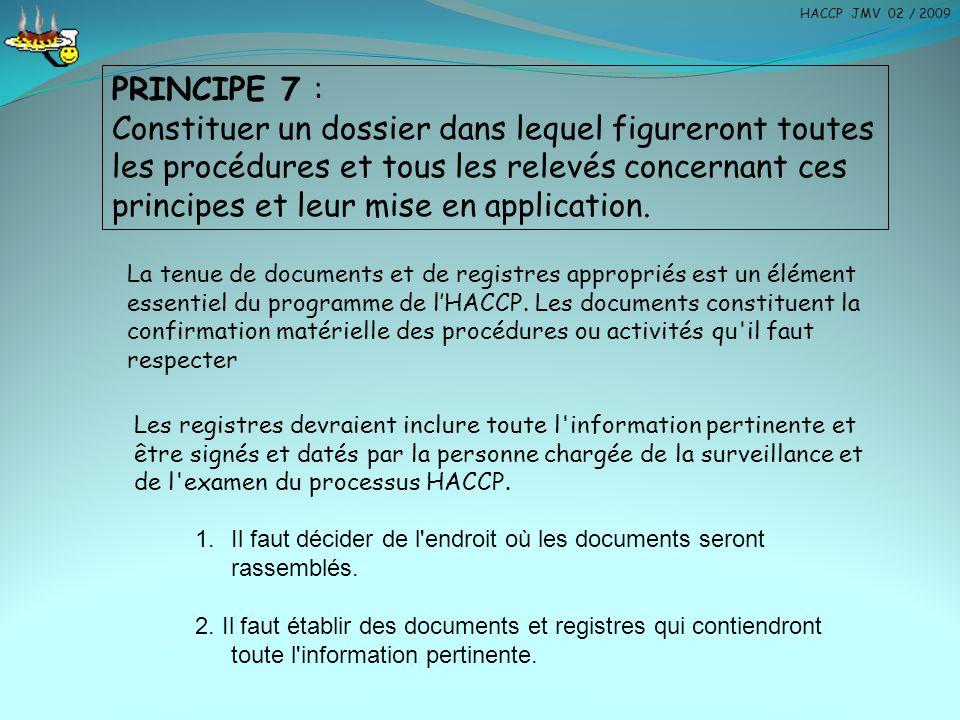 PRINCIPE 7 : Constituer un dossier dans lequel figureront toutes les procédures et tous les relevés concernant ces principes et leur mise en applicati