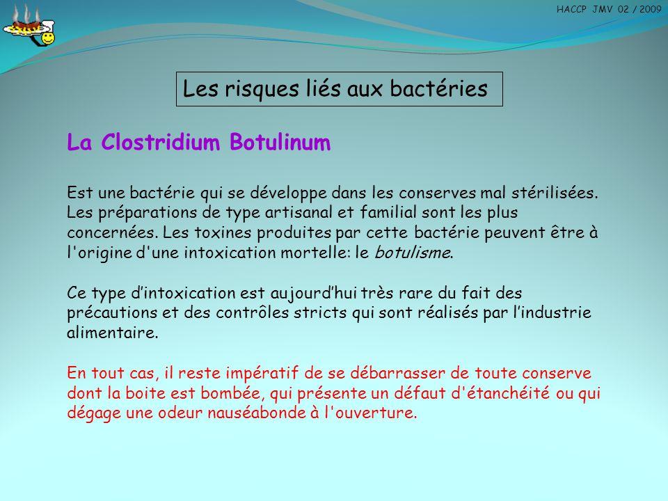 Les risques liés aux bactéries La Clostridium Botulinum Est une bactérie qui se développe dans les conserves mal stérilisées. Les préparations de type