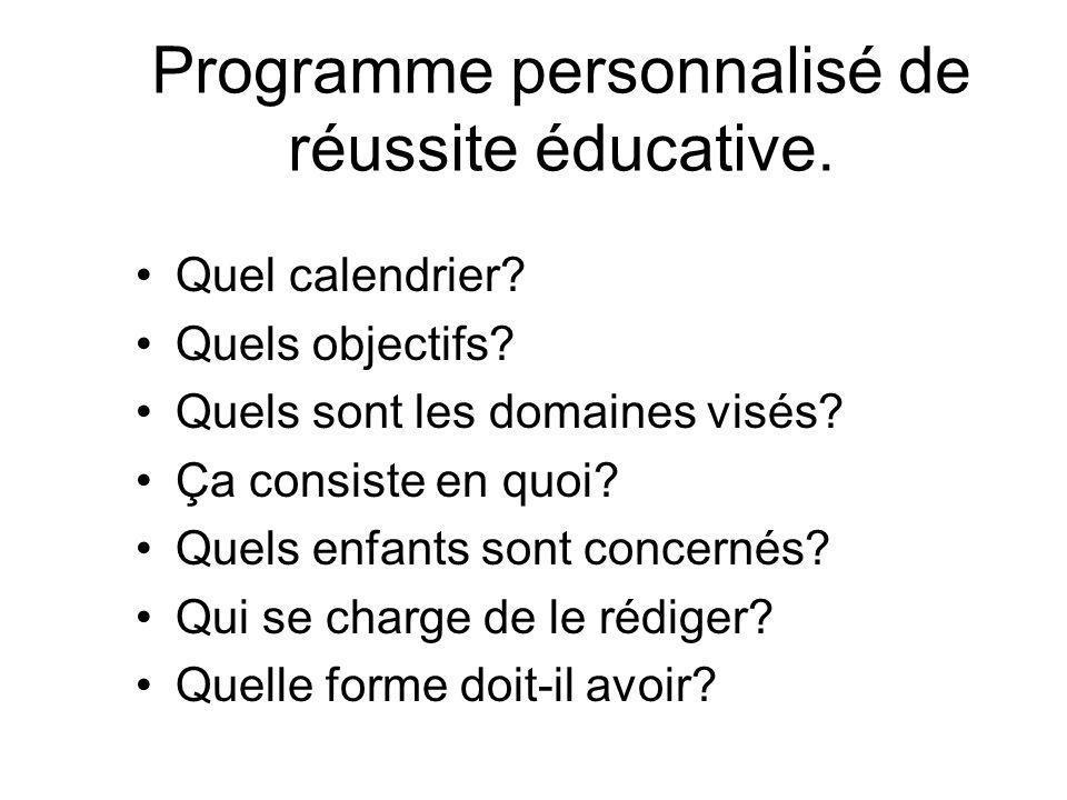 Programme personnalisé de réussite éducative. •Quel calendrier.