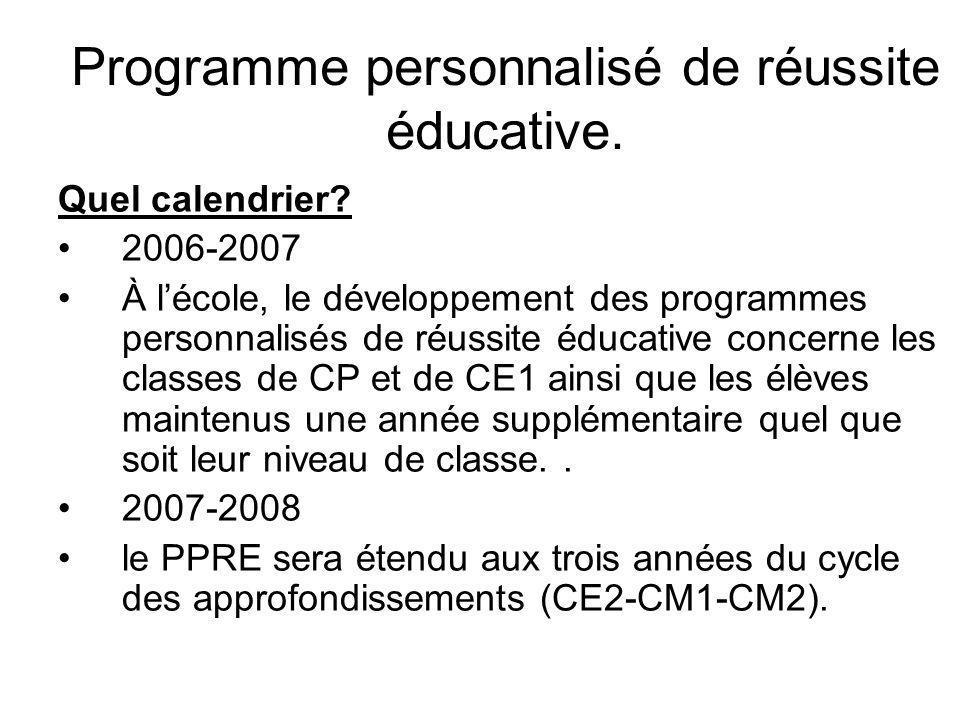 Programme personnalisé de réussite éducative. Quel calendrier.