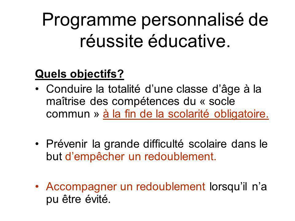 Programme personnalisé de réussite éducative. Quels objectifs.