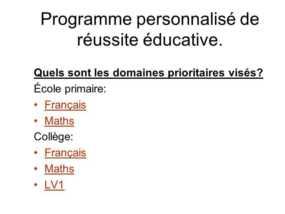 Programme personnalisé de réussite éducative. Quels sont les domaines prioritaires visés.