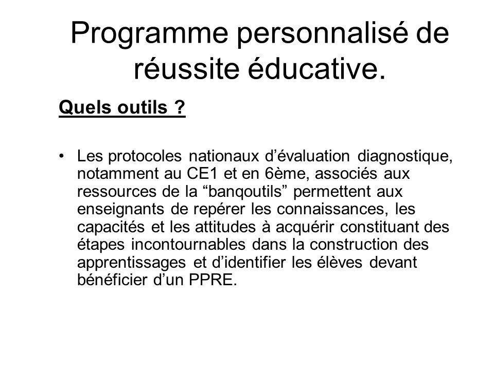 Programme personnalisé de réussite éducative. Quels outils .