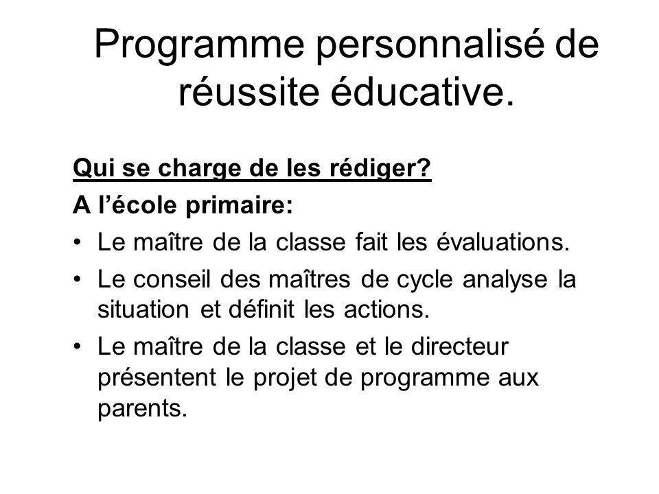 Programme personnalisé de réussite éducative.Quelle forme doit-il avoir.