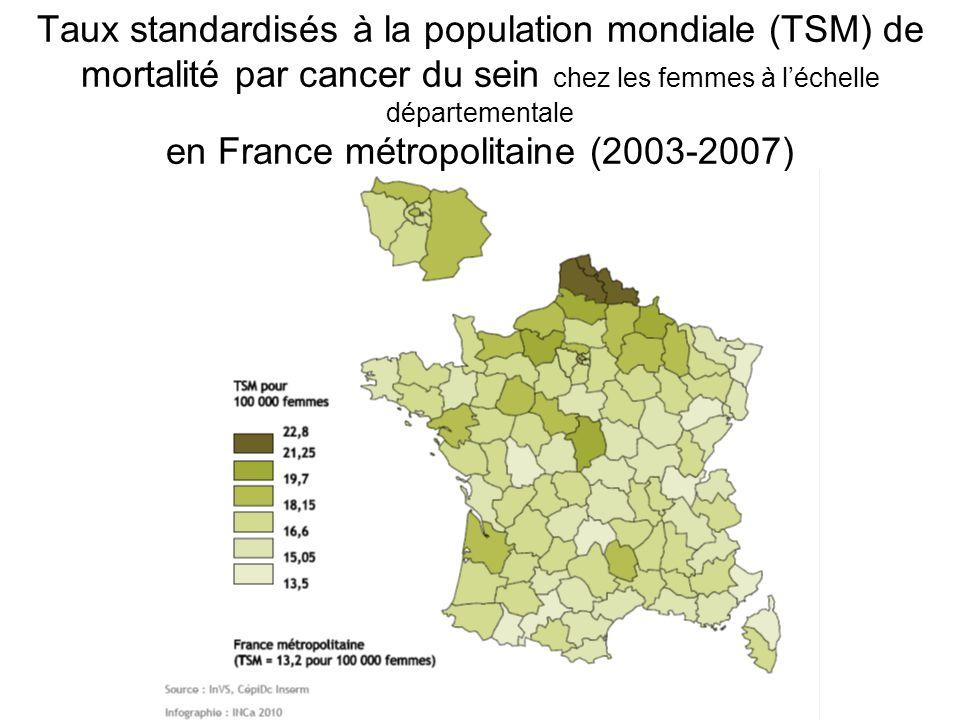 Taux standardisés à la population mondiale (TSM) de mortalité par cancer du sein chez les femmes à l'échelle départementale en France métropolitaine (