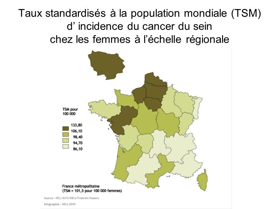 Taux standardisés à la population mondiale (TSM) d' incidence du cancer du sein chez les femmes à l'échelle régionale