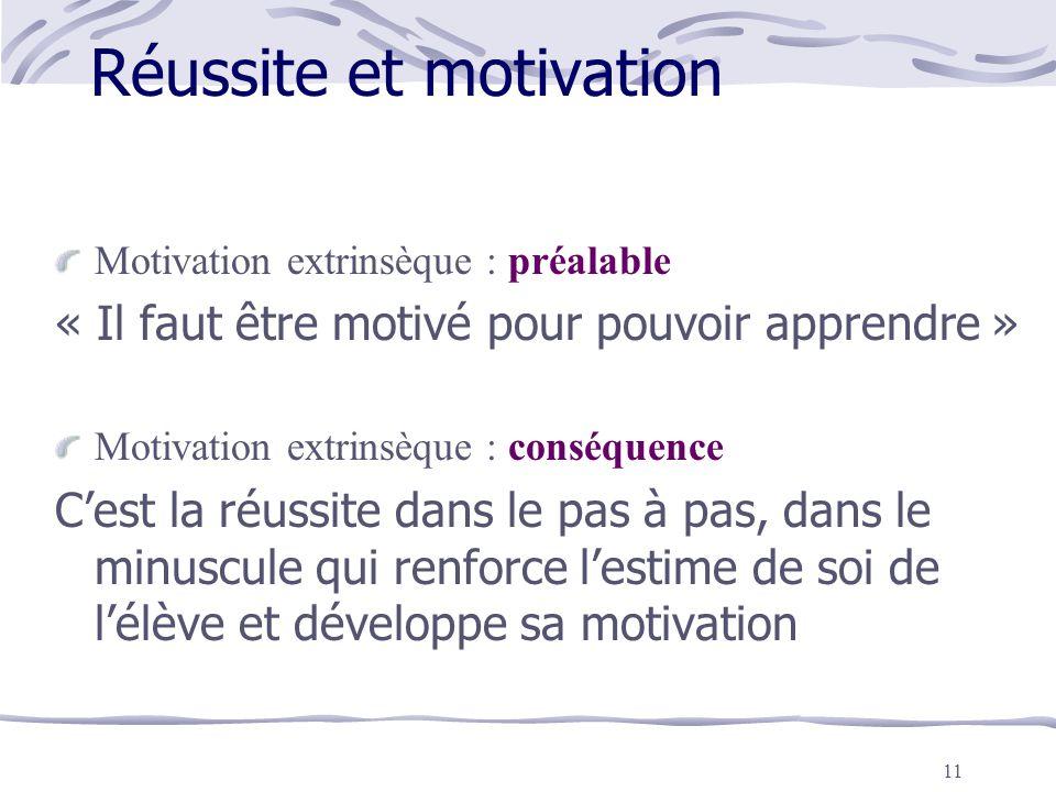 11 Réussite et motivation Motivation extrinsèque : préalable « Il faut être motivé pour pouvoir apprendre » Motivation extrinsèque : conséquence C'est