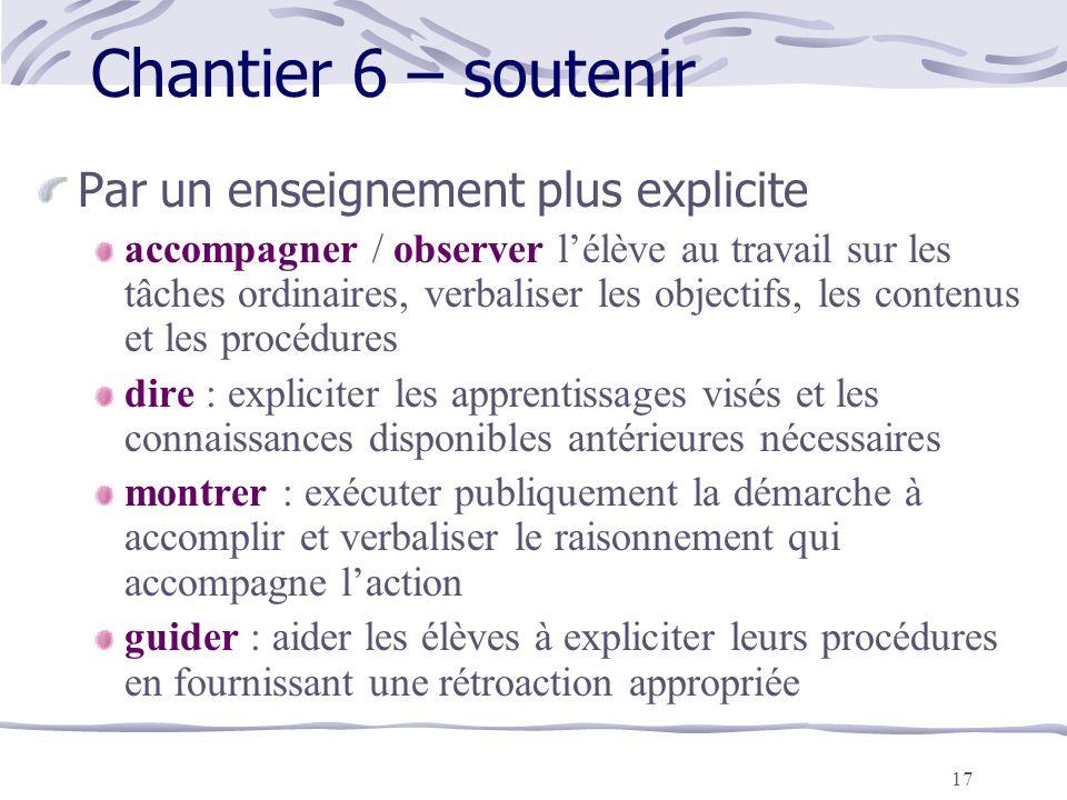 17 Chantier 6 – soutenir Par un enseignement plus explicite accompagner / observer l'élève au travail sur les tâches ordinaires, verbaliser les object