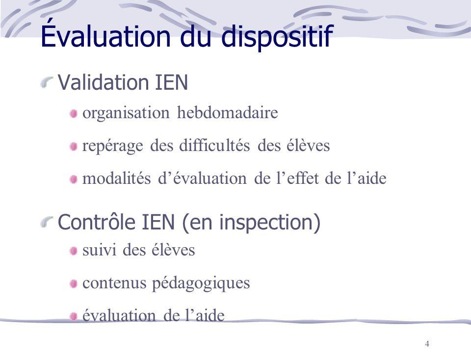 4 Évaluation du dispositif Validation IEN Contrôle IEN (en inspection) organisation hebdomadaire repérage des difficultés des élèves modalités d'évalu