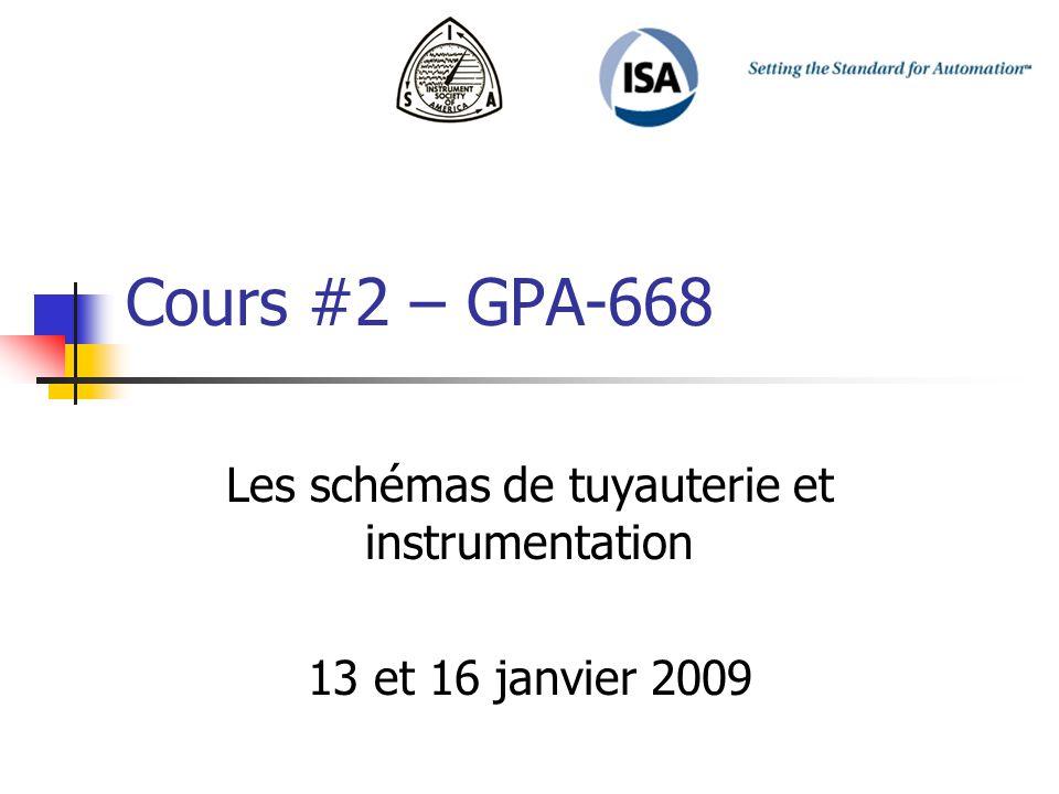 Cours #2 – GPA-668 Les schémas de tuyauterie et instrumentation 13 et 16 janvier 2009