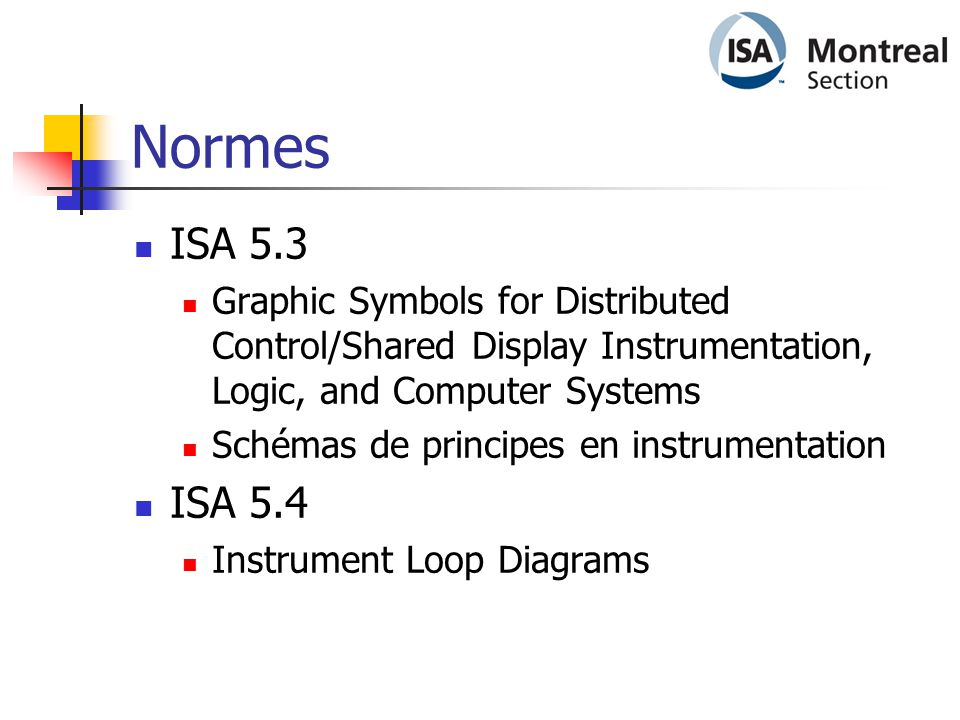 Normes  ISA 5.3  Graphic Symbols for Distributed Control/Shared Display Instrumentation, Logic, and Computer Systems  Schémas de principes en instr