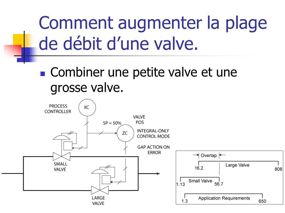 Comment augmenter la plage de débit d'une valve.  Combiner une petite valve et une grosse valve.