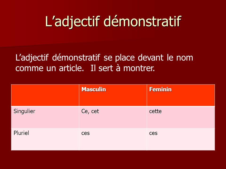 L'adjectif démonstratif MasculinFeminin Singulier Ce, cet cette Plurielcesces L'adjectif démonstratif se place devant le nom comme un article. Il sert