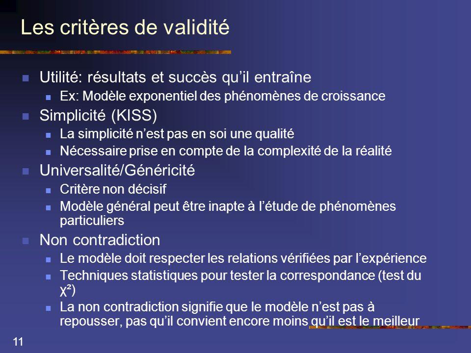 11 Les critères de validité  Utilité: résultats et succès qu'il entraîne  Ex: Modèle exponentiel des phénomènes de croissance  Simplicité (KISS)  La simplicité n'est pas en soi une qualité  Nécessaire prise en compte de la complexité de la réalité  Universalité/Généricité  Critère non décisif  Modèle général peut être inapte à l'étude de phénomènes particuliers  Non contradiction  Le modèle doit respecter les relations vérifiées par l'expérience  Techniques statistiques pour tester la correspondance (test du χ²)  La non contradiction signifie que le modèle n'est pas à repousser, pas qu'il convient encore moins qu'il est le meilleur