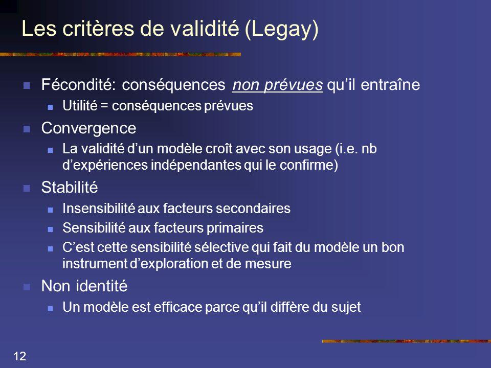 12 Les critères de validité (Legay)  Fécondité: conséquences non prévues qu'il entraîne  Utilité = conséquences prévues  Convergence  La validité d'un modèle croît avec son usage (i.e.