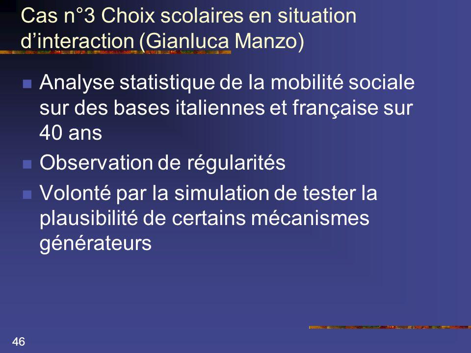 46 Cas n°3 Choix scolaires en situation d'interaction (Gianluca Manzo)  Analyse statistique de la mobilité sociale sur des bases italiennes et française sur 40 ans  Observation de régularités  Volonté par la simulation de tester la plausibilité de certains mécanismes générateurs