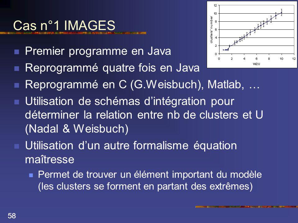58 Cas n°1 IMAGES  Premier programme en Java  Reprogrammé quatre fois en Java  Reprogrammé en C (G.Weisbuch), Matlab, …  Utilisation de schémas d'intégration pour déterminer la relation entre nb de clusters et U (Nadal & Weisbuch)  Utilisation d'un autre formalisme équation maîtresse  Permet de trouver un élément important du modèle (les clusters se forment en partant des extrêmes)