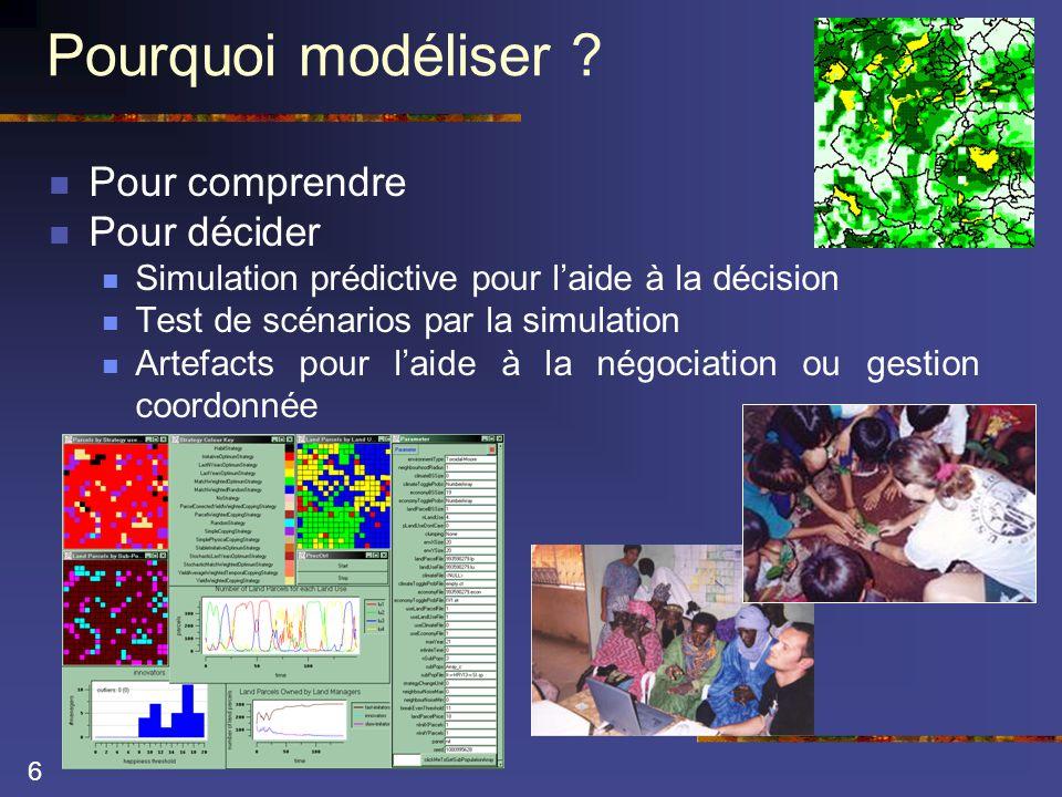 17 Vers des laboratoires virtuels …  Si on prend alors le modèle comme objet d'étude  Il faut adopter une approche expérimentale pour le comprendre  Construire le laboratoire virtuel  Indicateurs (mesures)  Faciliter la construction et la réplication d'expérience (paillasse)  Faciliter le déroulement des expériences (accélérer)  Méthodologie de plans d'expérience  Construire des modèles du modèle pour en comprendre le fonctionnement  Aspects multi-modélisation  Articulation entre paradigmes (formalismes ou points de vue)
