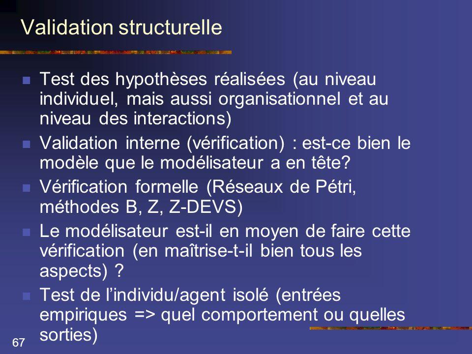 67 Validation structurelle  Test des hypothèses réalisées (au niveau individuel, mais aussi organisationnel et au niveau des interactions)  Validation interne (vérification) : est-ce bien le modèle que le modélisateur a en tête.
