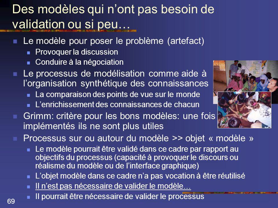 69 Des modèles qui n'ont pas besoin de validation ou si peu…  Le modèle pour poser le problème (artefact)  Provoquer la discussion  Conduire à la négociation  Le processus de modélisation comme aide à l'organisation synthétique des connaissances  La comparaison des points de vue sur le monde  L'enrichissement des connaissances de chacun  Grimm: critère pour les bons modèles: une fois implémentés ils ne sont plus utiles  Processus sur ou autour du modèle >> objet « modèle »  Le modèle pourrait être validé dans ce cadre par rapport au objectifs du processus (capacité à provoquer le discours ou réalisme du modèle ou de l'interface graphique)  L'objet modèle dans ce cadre n'a pas vocation à être réutilisé  Il n'est pas nécessaire de valider le modèle…  Il pourrait être nécessaire de valider le processus
