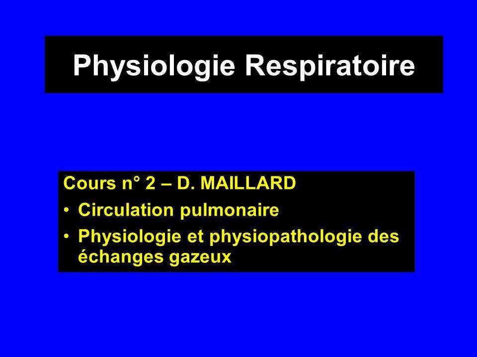 Physiologie Respiratoire Cours n° 2 – D. MAILLARD •Circulation pulmonaire •Physiologie et physiopathologie des échanges gazeux