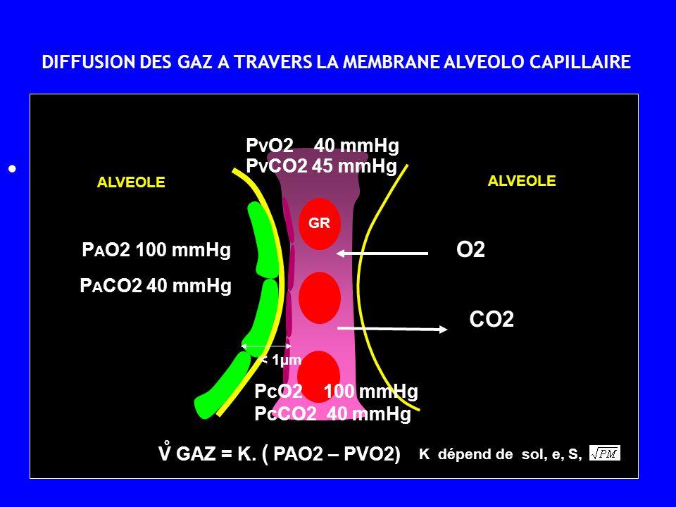 • DIFFUSION DES GAZ A TRAVERS LA MEMBRANE ALVEOLO CAPILLAIRE GR ALVEOLE P A O2 100 mmHg P A CO2 40 mmHg P V O2 40 mmHg P V CO2 45 mmHg ° V GAZ = K. (