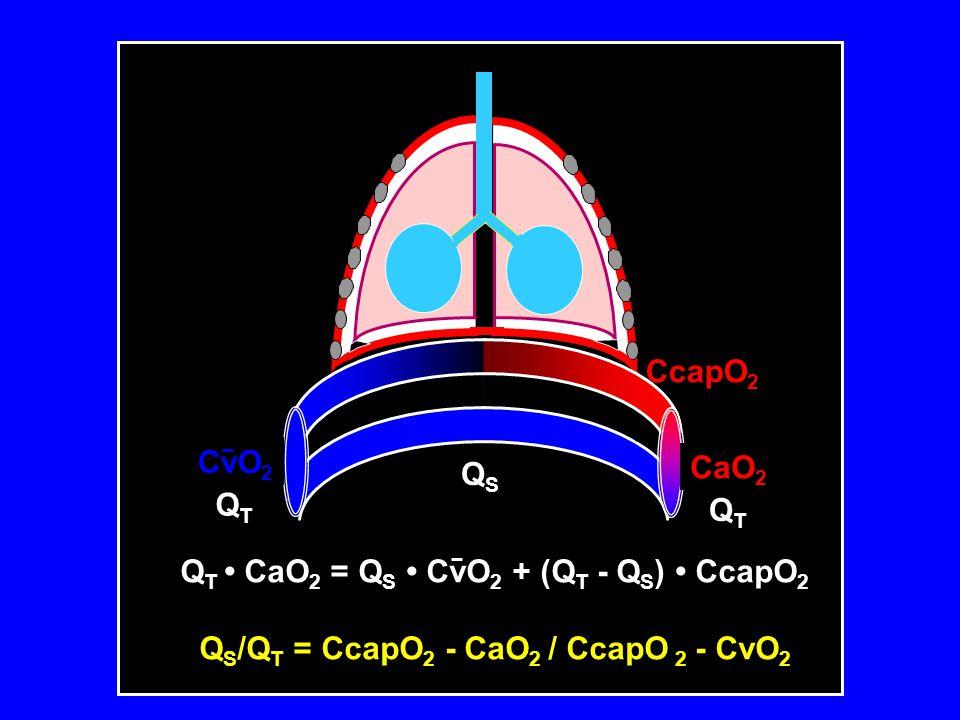 CaO 2 CvO 2 QSQS QTQT QTQT CcapO 2 Q T • CaO 2 = Q S • CvO 2 + (Q T - Q S ) • CcapO 2 Q S /Q T = CcapO 2 - CaO 2 / CcapO 2 - CvO 2