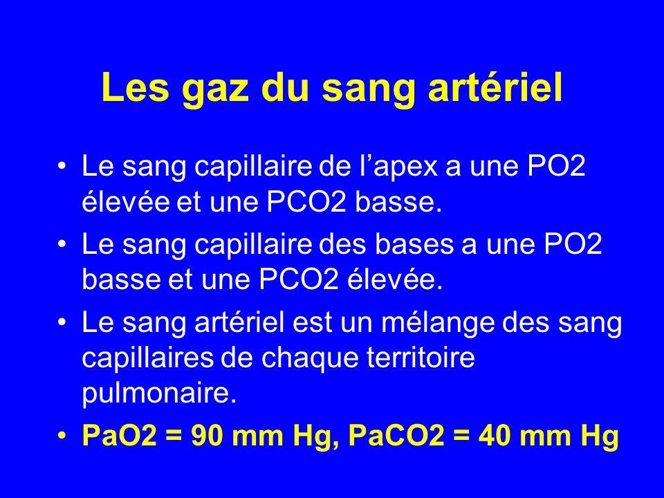 Les gaz du sang artériel •Le sang capillaire de l'apex a une PO2 élevée et une PCO2 basse. •Le sang capillaire des bases a une PO2 basse et une PCO2 é