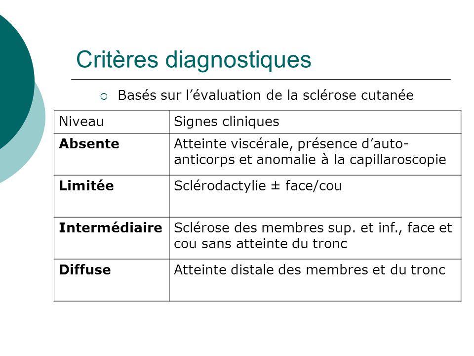 Critères diagnostiques  Basés sur l'évaluation de la sclérose cutanée NiveauSignes cliniques AbsenteAtteinte viscérale, présence d'auto- anticorps et anomalie à la capillaroscopie LimitéeSclérodactylie ± face/cou IntermédiaireSclérose des membres sup.