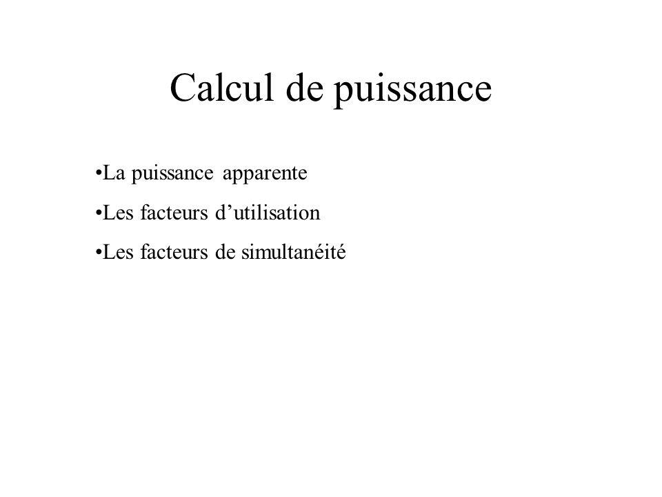Calcul de puissance •La puissance apparente •Les facteurs d'utilisation •Les facteurs de simultanéité