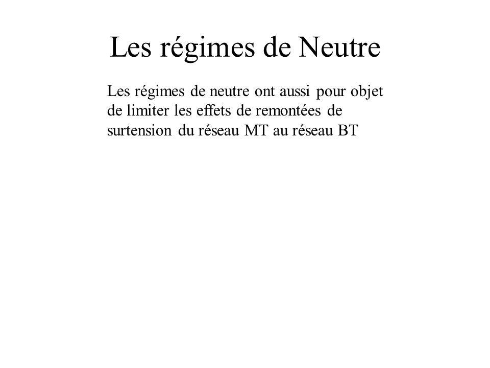 Les régimes de Neutre Les régimes de neutre ont aussi pour objet de limiter les effets de remontées de surtension du réseau MT au réseau BT