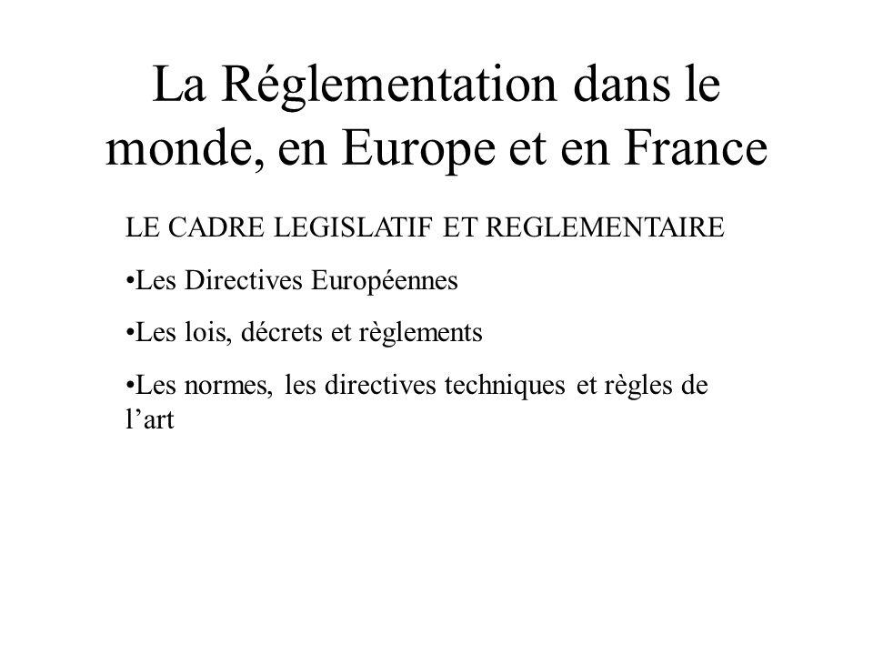 La Réglementation dans le monde, en Europe et en France LE CADRE LEGISLATIF ET REGLEMENTAIRE •Les Directives Européennes •Les lois, décrets et règleme