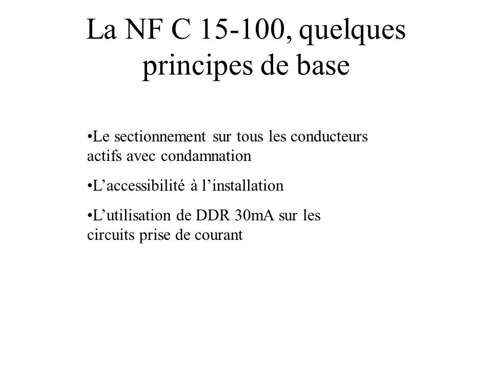 La NF C 15-100, quelques principes de base •Le sectionnement sur tous les conducteurs actifs avec condamnation •L'accessibilité à l'installation •L'ut