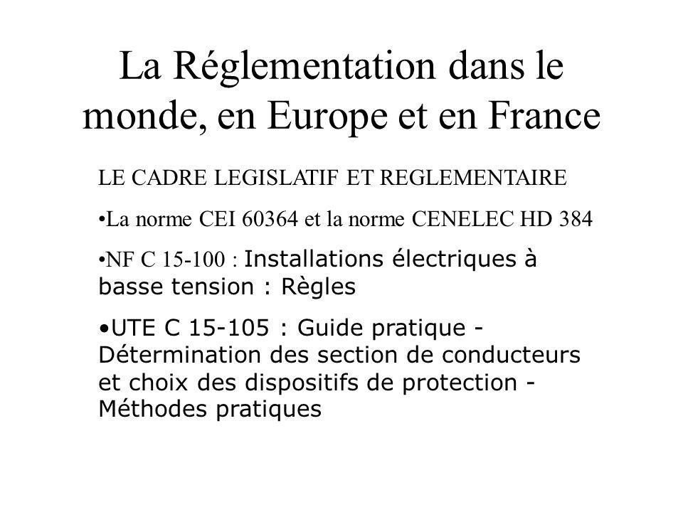 La Réglementation dans le monde, en Europe et en France LE CADRE LEGISLATIF ET REGLEMENTAIRE •La norme CEI 60364 et la norme CENELEC HD 384 •NF C 15-1