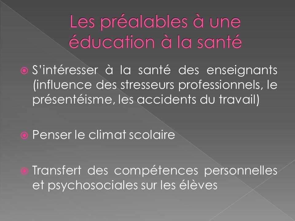  S'intéresser à la santé des enseignants (influence des stresseurs professionnels, le présentéisme, les accidents du travail)  Penser le climat scolaire  Transfert des compétences personnelles et psychosociales sur les élèves
